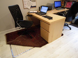 RugBuddy under home office desk