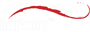 RugBuddy logo reversed out